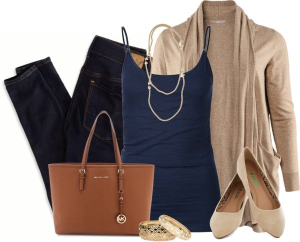 navy blue tank top with taupe cardigan