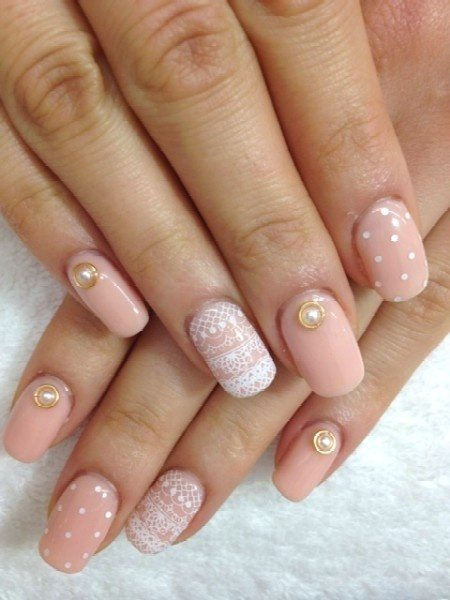nude color lace nail art