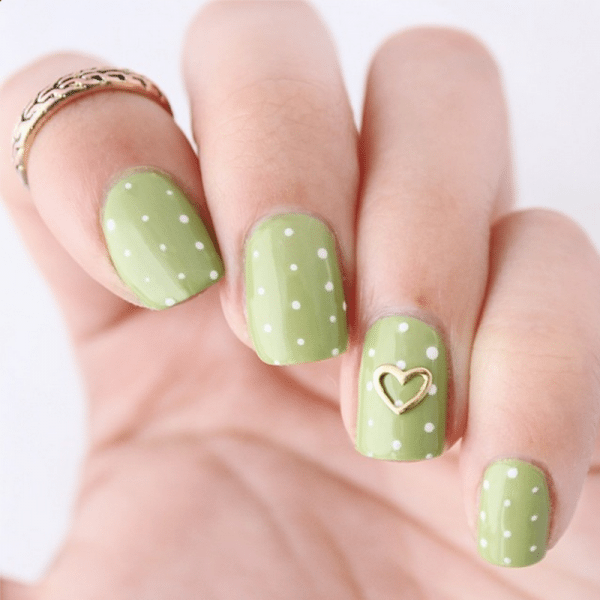 olive green polka dots lovely nail