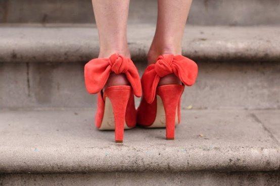 orange bow heels