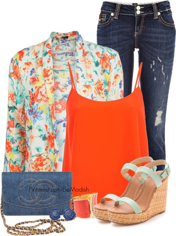 orange tank top with floral cardigan casual outfit