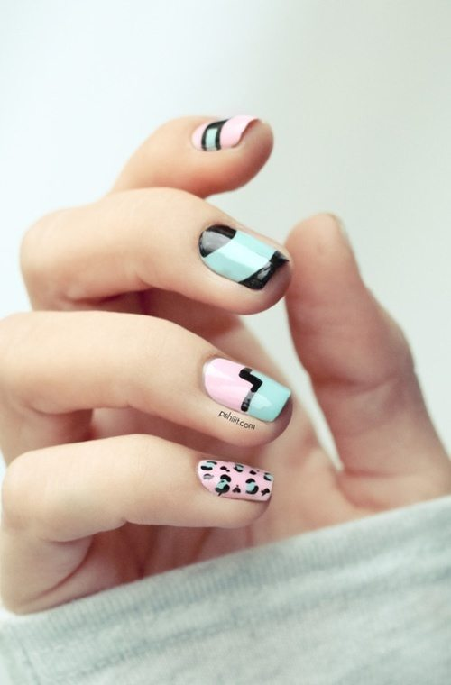 pastel nail art with animal print