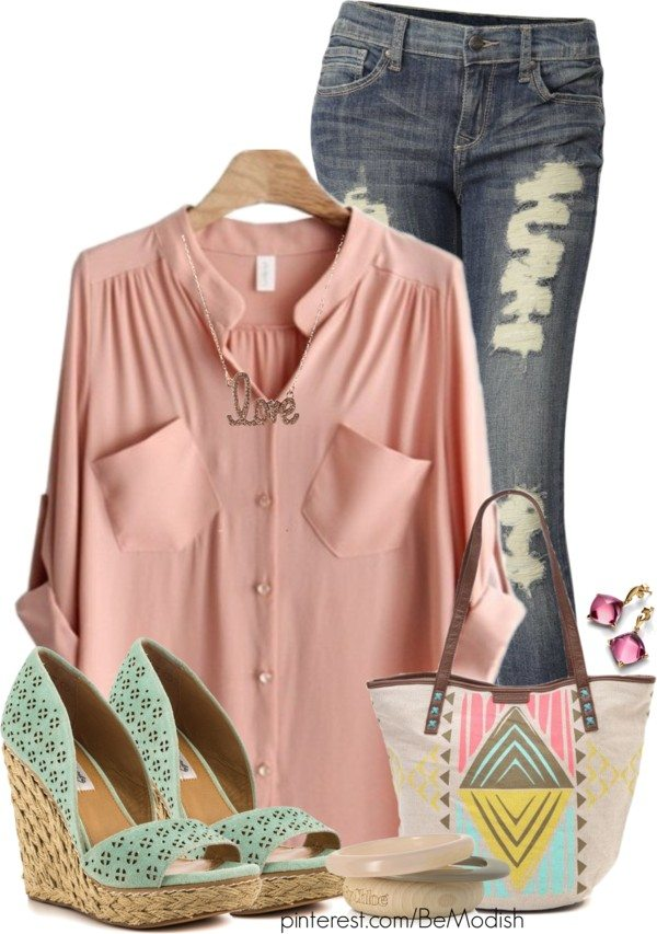 pastel shirt casual outfit