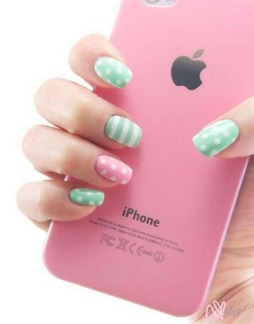 pink and green pastel nail