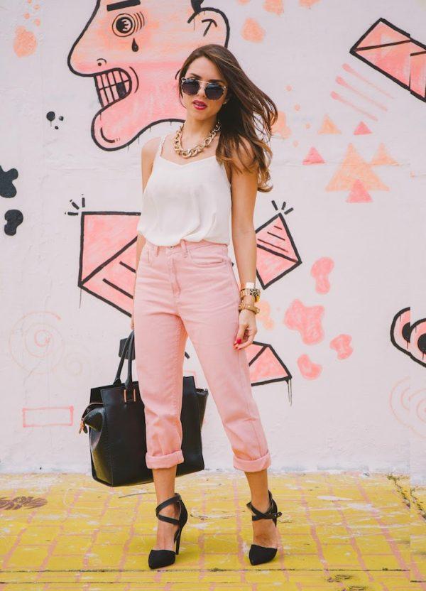 pink boyfriend jeans casual