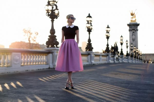 pink midi with black top