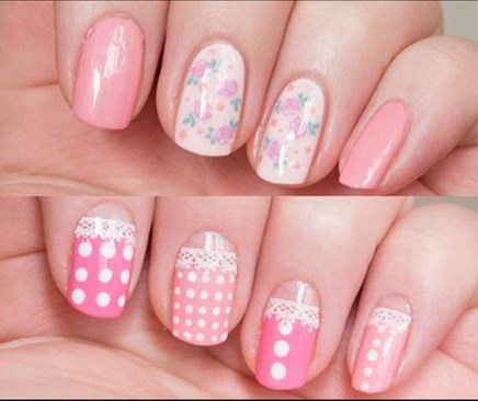 pink pastel with floral nail design