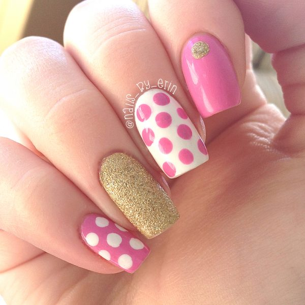 pink polk dots with gold nail art