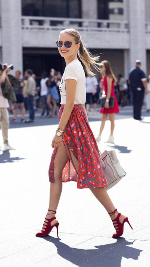 pretty printed midi skirt
