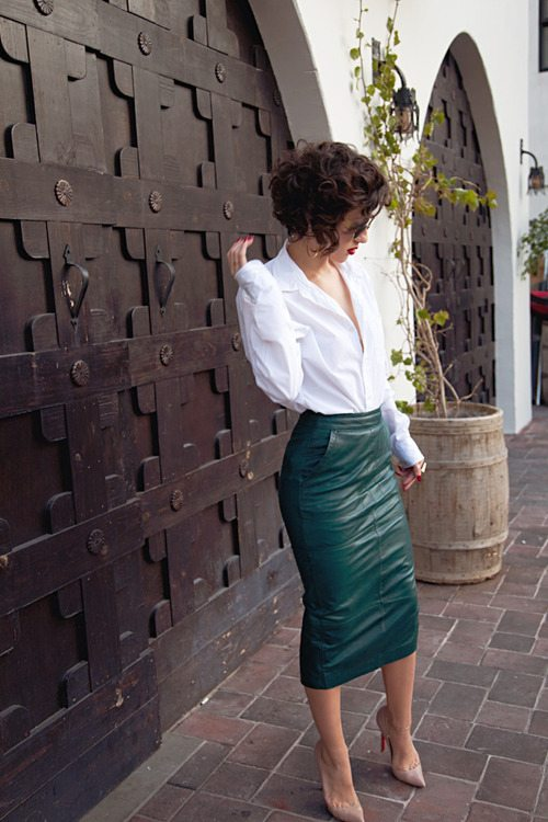 sea green midi skirt