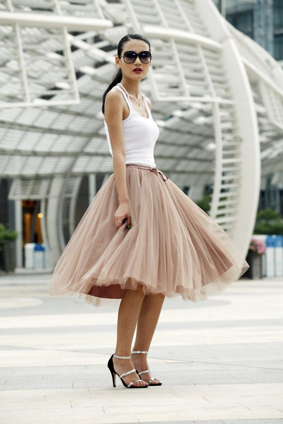 soft brown tulle skirt