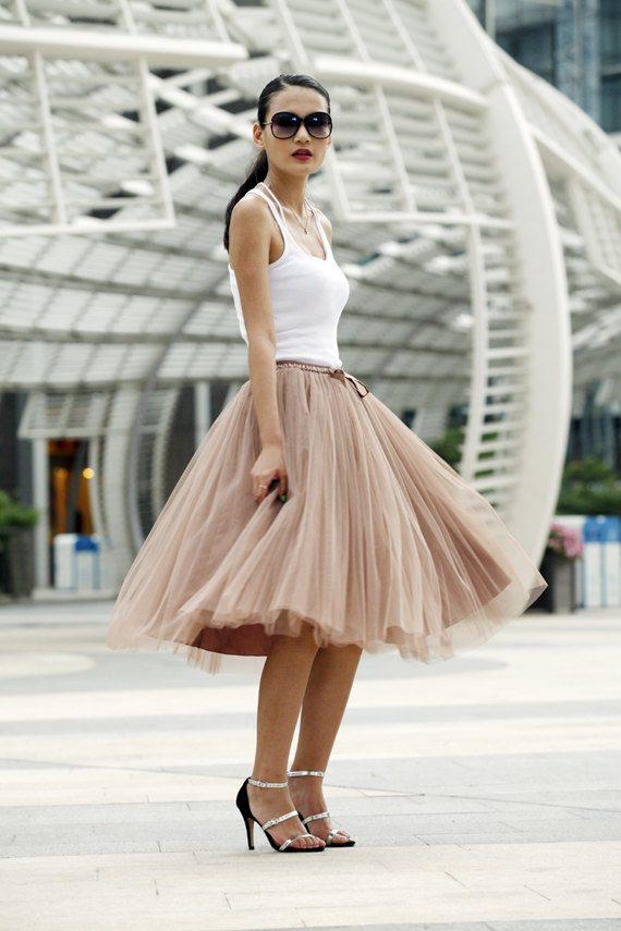 soft brown tulle skirt