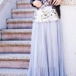 soft purple maxi skirt outfit