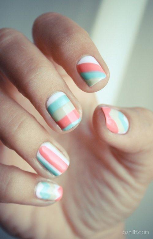 stripe pastel nail