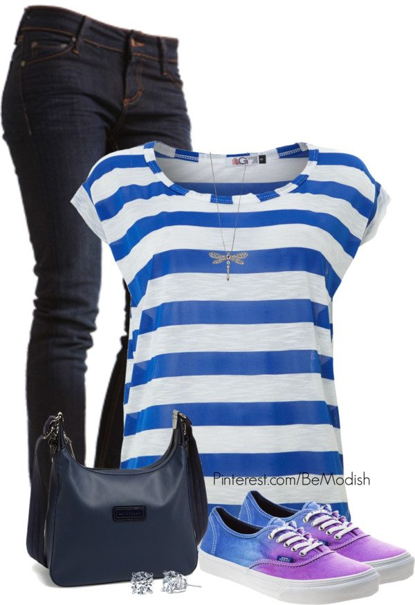 striped blue shirt outfit