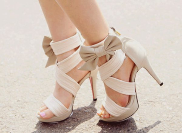tan bows high heels