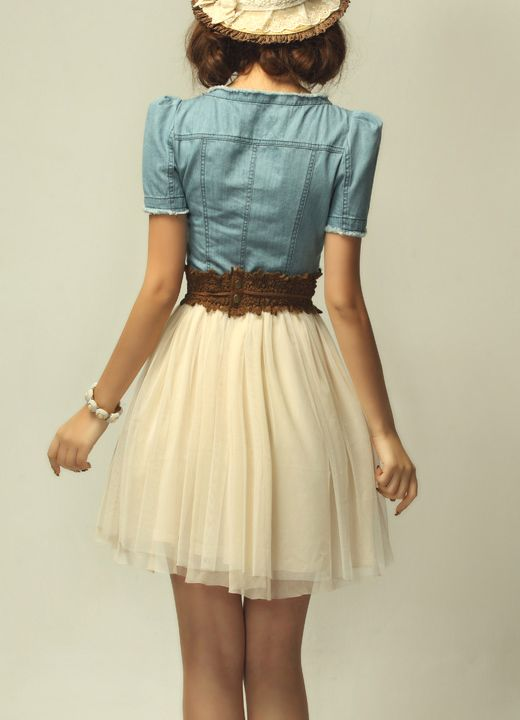 denim with tulle skirt