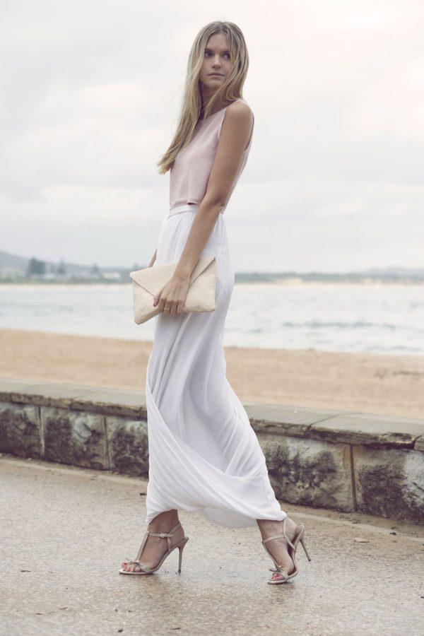 white maxi skirt style
