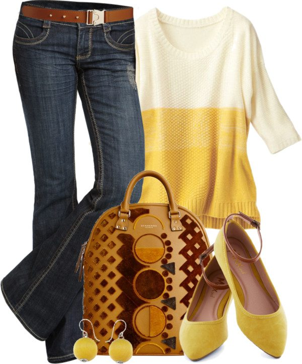 yellow sweater casual outfit