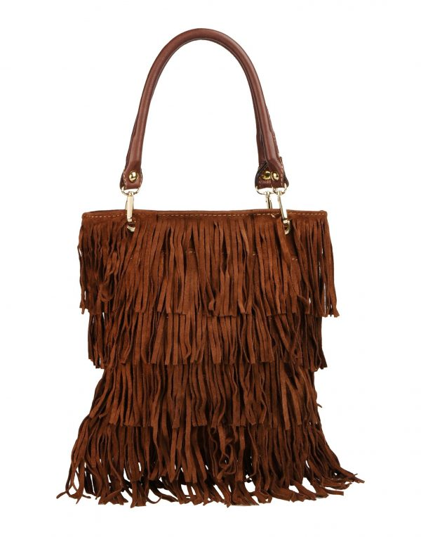 brown fringe tote bag