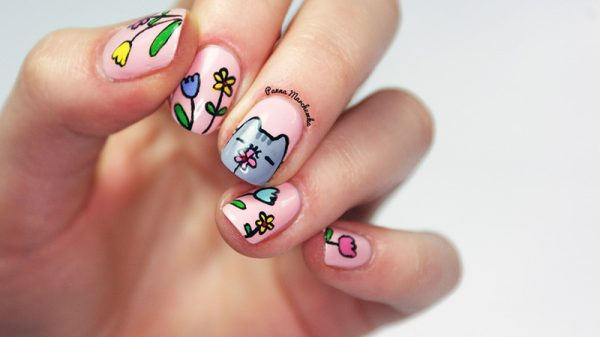 cat pusheen nail art bmodish