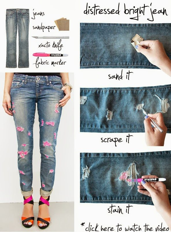 diy distressed bright jeans