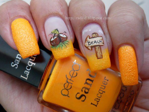 perfect sand yellow summer nail art