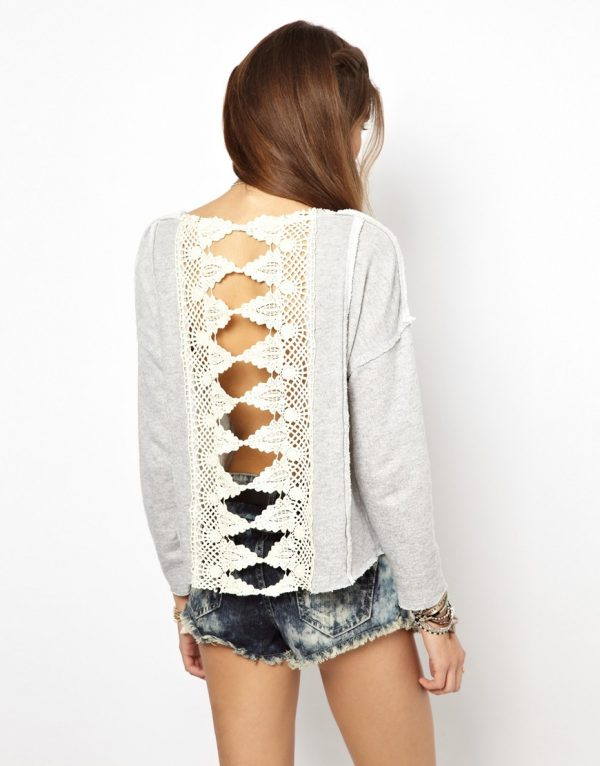 back lace free people sweatshirt bmodish
