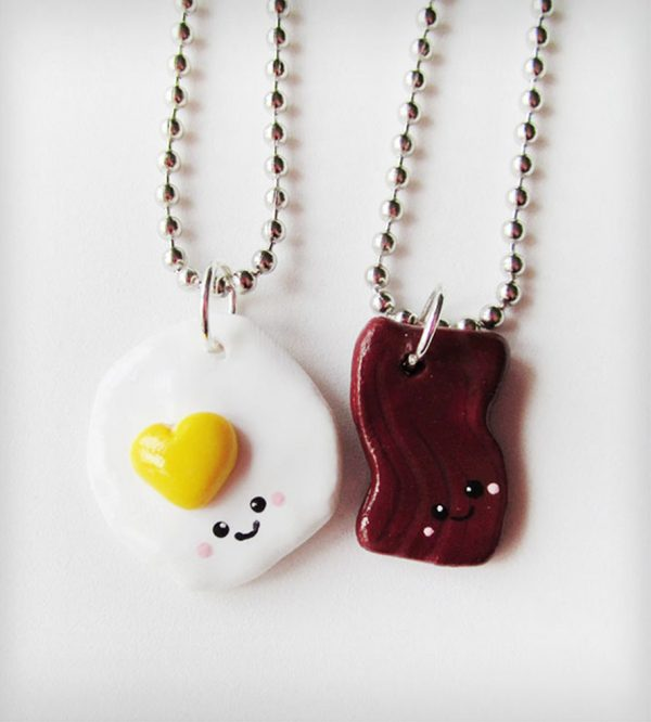 bacon and eggs best friend necklace bmodish