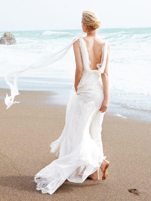 beach silk and lace wedding gown alberta ferretti