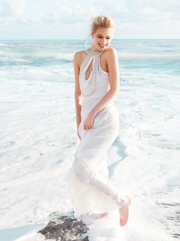 beads trimmed beach wedding dress valentin yudashkin