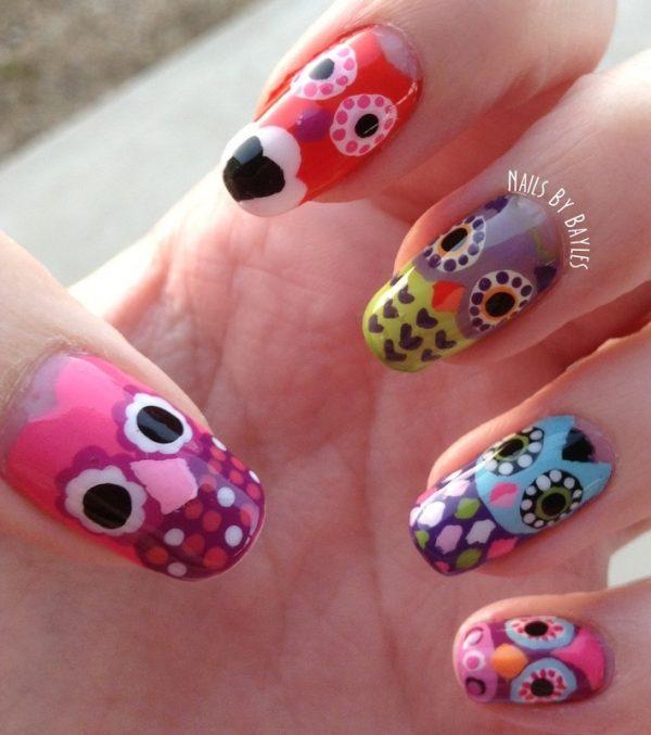 big colorful owl nail art bmodish dot com