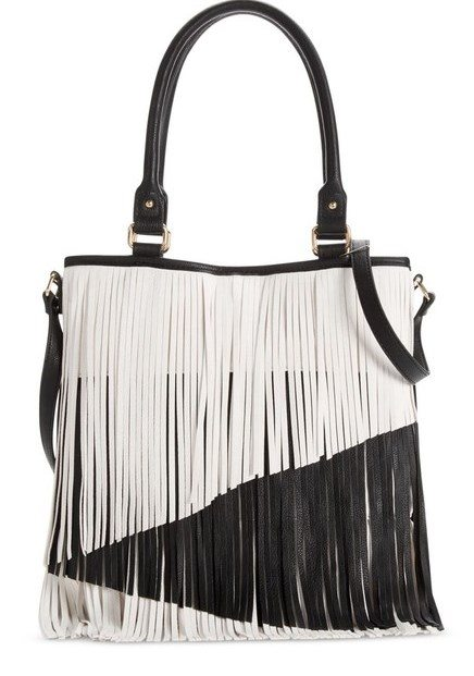 black and white fringe bag
