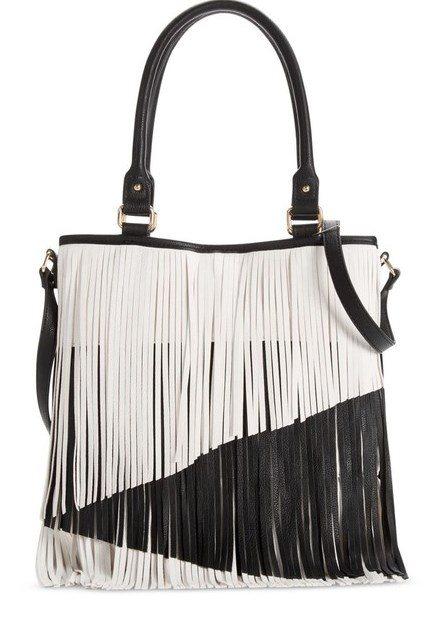 black and white fringe bag