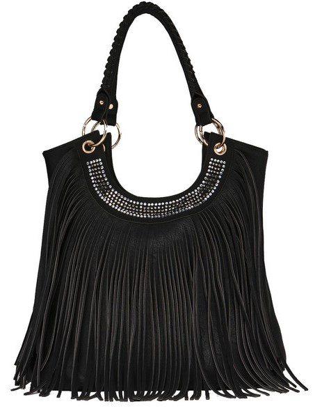 black fringe bohemian handbag