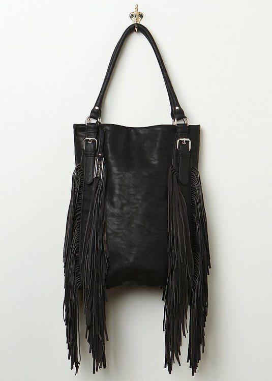 black fringe handbag