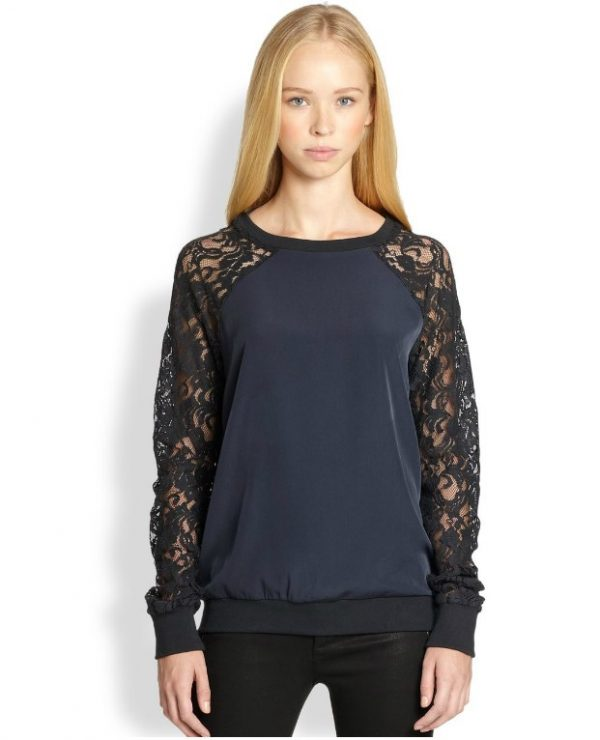 black lace blue sweatshirt bmodish