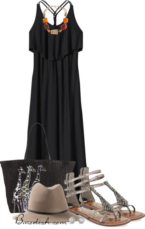 black maxi dress with gladiator sandals outfit bmodish