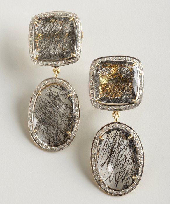 black rutilated earrings