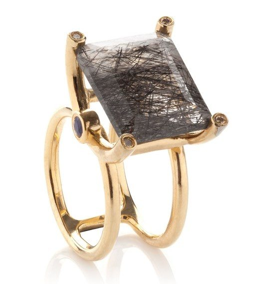 black rutilated stone ring