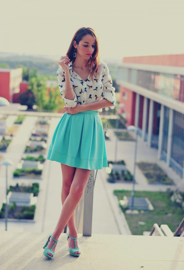 blouse and turquoise skirt bmodish