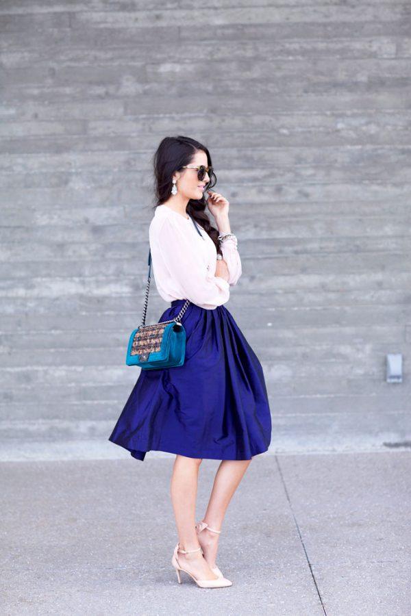 blouse with blue midi skirt bmodish