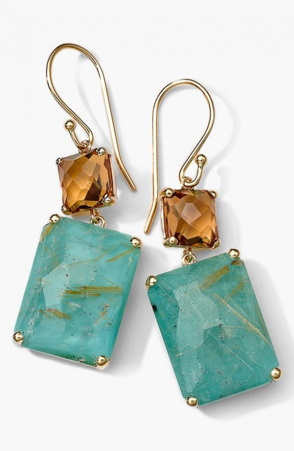 brown turquoise rutilated earrings