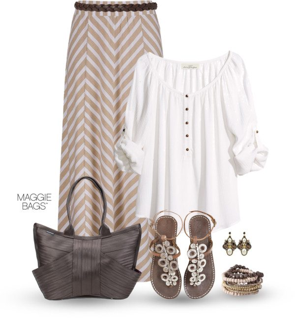 chevron maxi skirt summer outfit