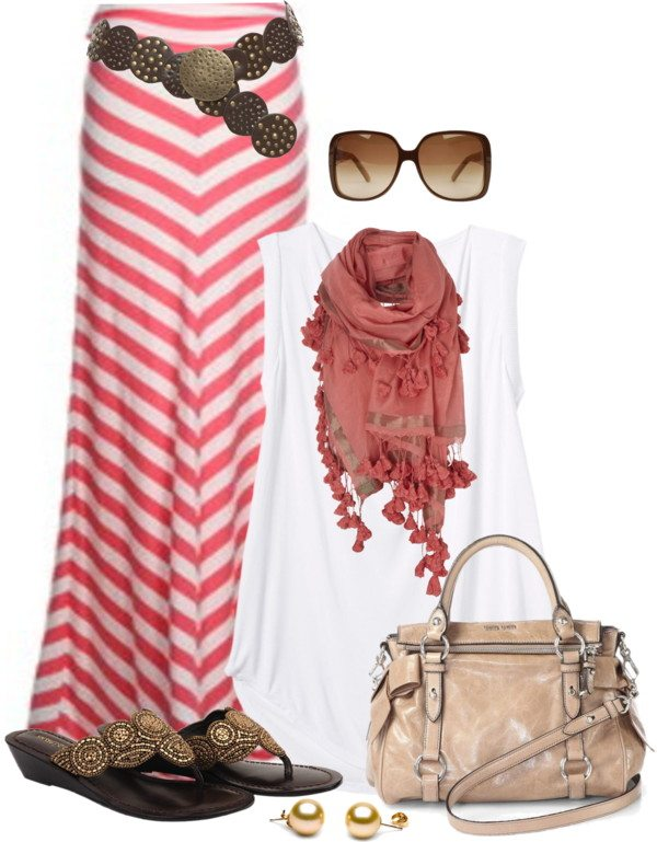 chevron pink maxi skirt outfit