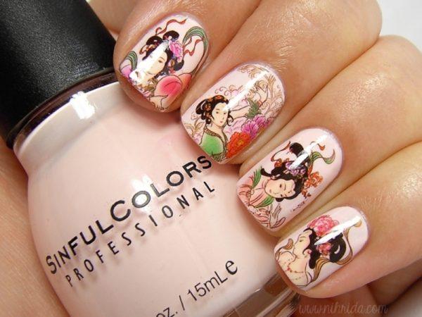 chinese decal nail art