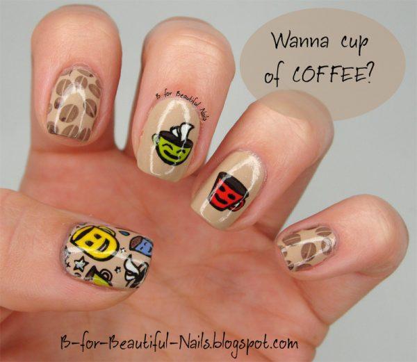 coffee nail art design