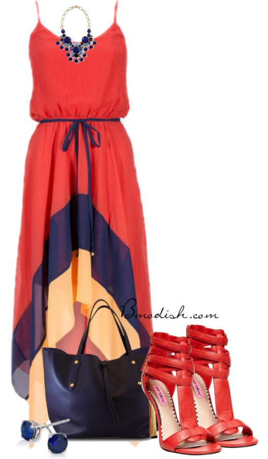 color blocking maxi dress outfit idea bmodish