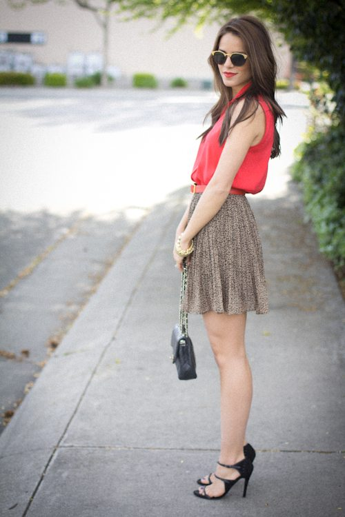 coral blouse with skirt bmodish