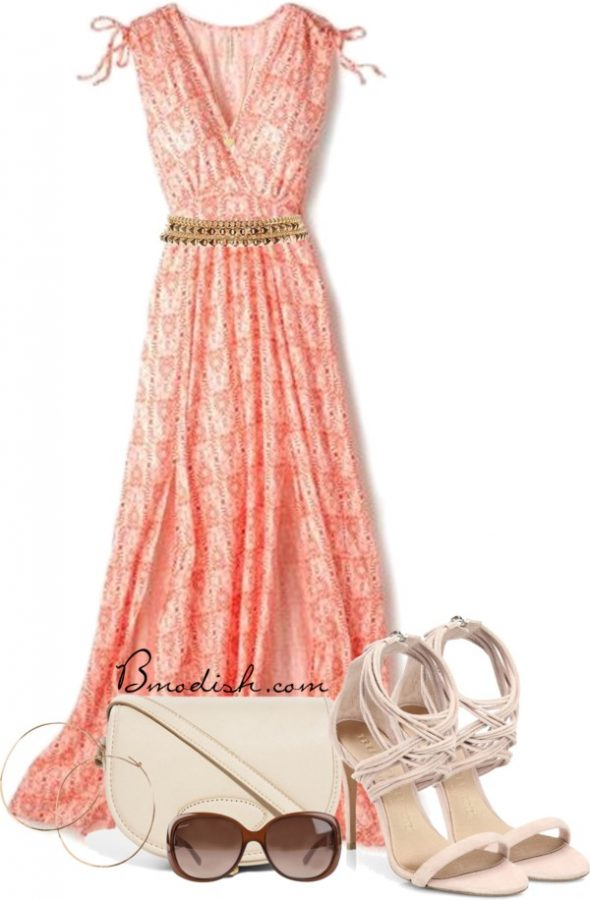 coral split maxi dress outfit bmodish